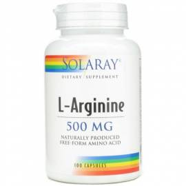 L-ARGININA 500MG 100 CÁPSULAS SOLARAY AMINOACIDOS DEFENSAS FERTILIDAD