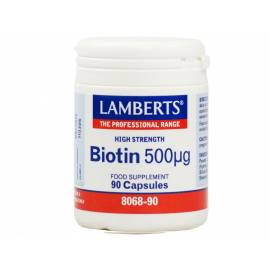 BIOTIN - BIOTINA 500 ug 90 CAPSULAS LAMBERTS FORMULA PELO PIEL Y UÑAS