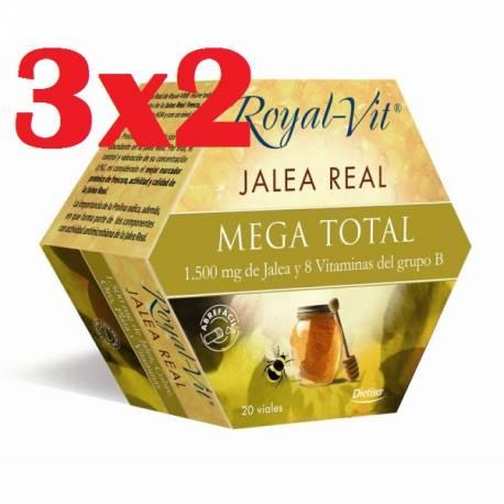 ROYAL VIT MEGA TOTAL 2000 JALEA REAL CON REISHI, SHIITAKE ,CROCUS SATIVUS, AMINOÁCIDOS Y 20 VITAMINAS 20 VIALES DIETISA