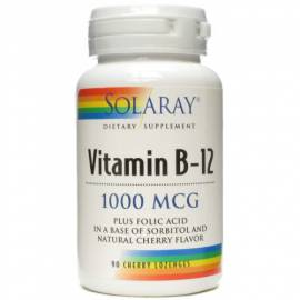 VITAMINA B12 ACIDO FOLICO 1000MCG 90 COMPRIMIDOS SUBLINGUALES SOLARAY EMBARAZO ANEMIA