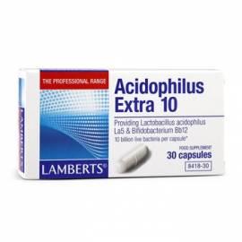 PROBIOTICOS ACIDOPHILUS EXTRA 10 30 CÁPSULAS LAMBERTS FORMULA DIARREAS ANTIBIÓTICOS FLORA INTESTINAL